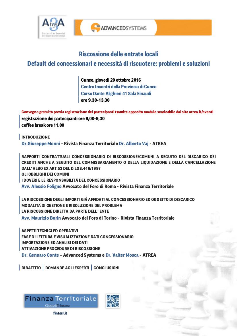 Convegno sulla riscossione delle entrate locali – Cuneo 20/10/2016